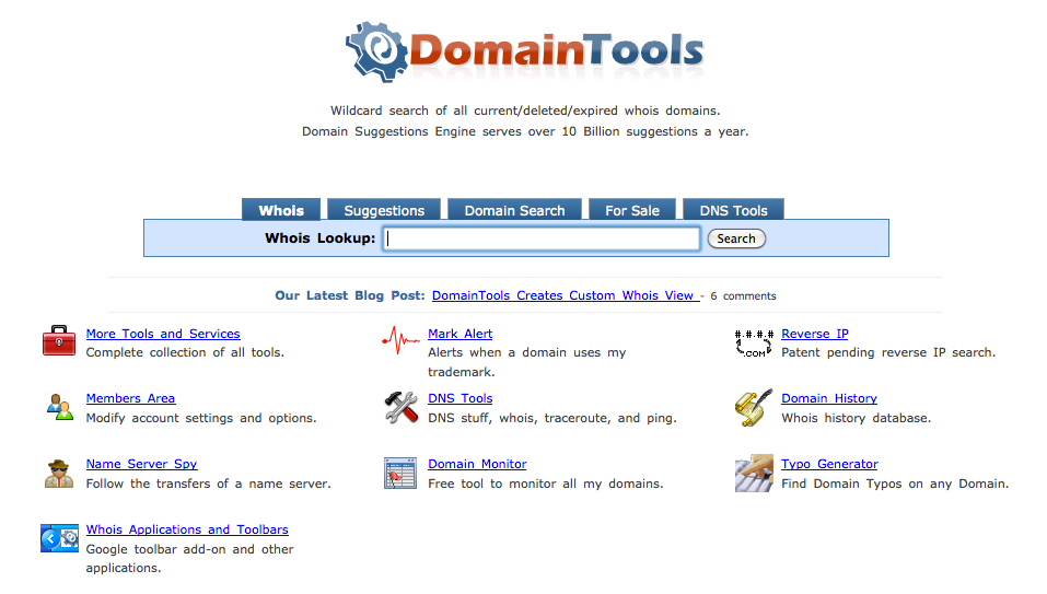 Domain Tools - Domain Name History Checker