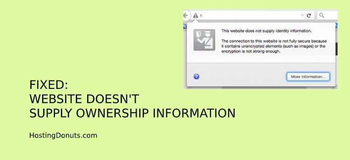 FIXED: Website Doesn't Supply Ownership Information