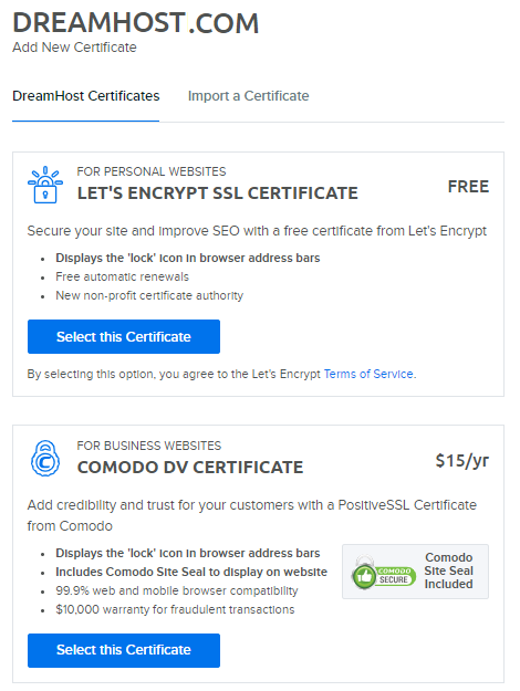 DreamHost Let's Encrypt SSL