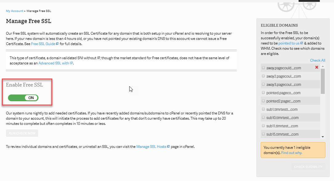 Enable InMotion Hosting Free SSL